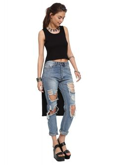 Jodi High Low Ribbed Crop Top in Black | Necessary Clothing