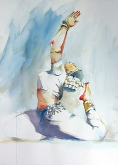 undressing watercolor ink | Indian Classical dance Pose 1 ( 22 X 30 )