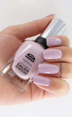 Sally Hansen - Grace Shell-y - perfect light creme purple polish / lacquer / vernis from the Complete Salon Manicure line Gold Nail Polish, Gold Nails, White Nails, Fun Nails, Pretty Nails, Nail Polishes, Sally Hansen Nails, Gel Nails At Home, Nail Art Brushes