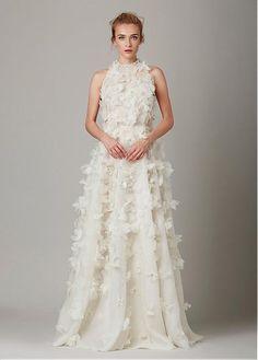 Gorgeous Organza High Collar Neckline A-line Wedding Dresses with 3D Flowers