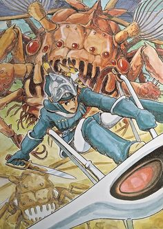 "Illustrations done for the Nausicaa manga ===== Manga began running in monthly 'Animage' in Feb. 1982, collected in order of appearance ===== Notes: I don't enjoy drawing pictures that scream ""Please buy this book!"" When I draw that kind of picture, I feel a certain sense of servile shame. But I did like the way the low quality paper of the magazine cover made the coloring look sort of antique..."