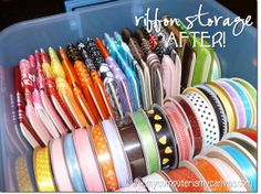 An easy way to store and organize ribbon! Thanks Colette!
