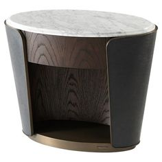 Shop the Theodore Alexander Amour White Marble Top Leather Wrapped Oval Nightstand and other Side & End Tables at Kathy Kuo Home Plywood Furniture, My Furniture, Unique Furniture, Luxury Furniture, Furniture Design, Furniture Stores, Bedroom Furniture, Furniture Websites, Furniture Market