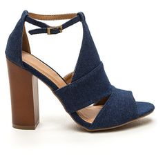 Partner In Crime Denim Heels BLUE (30 CAD) ❤ liked on Polyvore featuring shoes, pumps, heels, blue, denim heels pumps, peep toe shoes, blue high heel shoes, denim shoes and blue ankle strap pumps