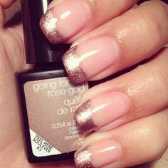 Rose Gold Tips- so beautiful and right on trend! Rina's Nails- #RTKNails #sensationailgel, #sensationail, #nails