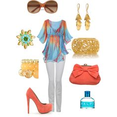 """blue and coral"" by missyalexandra on Polyvore"
