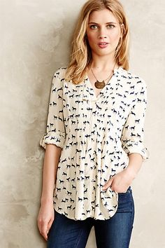 Composed Pintuck Buttondown - Love the style, need different fabric colors ~anthropologie.com