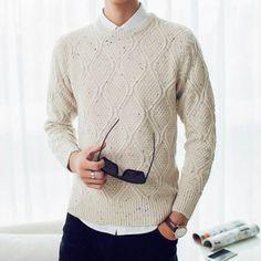 Men's Fall Winter Cotton Blend Solid Spots Decoration Rhombus Grain Sweater - Gchoic.com