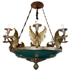 Large Empire Style Gilt Bronze and Painted Tole Chandelier with Swan Shaped Arms (1940s)