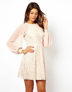 ASOS Nude Lace Shift Dress with Blouson Sleeves
