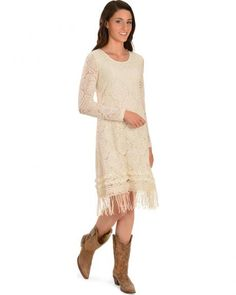 Young Essence Women's Cream Crocheted Lace Long Sleeve Dress Cowgirl Chic, Cowgirl Style, Cowgirl Outfits For Women, Western Dresses, Crochet Lace, Dress Skirt, Dressing, Tunic Tops, Clothes For Women