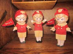 Vintage 3 googlyeyed bisque dolls cheerleadersSo by realdeals4u, $250.00