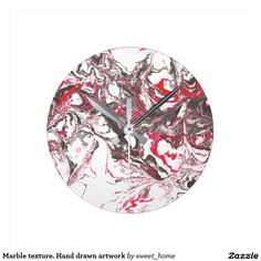 Marble texture. Hand drawn artwork Round Clock #Homedecor #Room #accessories #Interior #decorating #Idea #Styles #Home #stonetexture #paint #abstract
