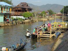 Visitors to Phaung Daw Oo Pagoda southwest of Inle Lake, Myanmar (Burma), disembark at this canalside landing in Tha Lay village. Inle Lake, Landing