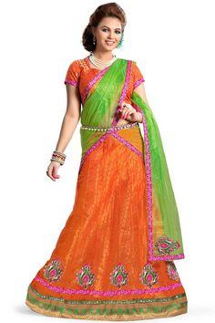 Enchant the mantra of being stylish in this attire. Be the sunshine of everyone's eyes dressed in this beautiful orange net a line lehenga choli. The embroidered, patch border and zari work on attir. Lehenga Style, Net Lehenga, Lehenga Choli Online, Bridal Lehenga Choli, Choli Designs, Lehenga Designs, Ghaghra Choli, Party Wear Lehenga, Ethnic Wear Designer