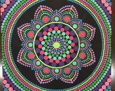 Dot de Mandala Dot 8 x 8 pouces à la main sur toile, peinture, Dotilism, Dot Art, Art mural