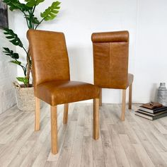 Italian Aniline Leather Dining Chairs available within weeks Free UK Delivery! Brown leather roll back dining chairs with solid oak frames. Fabric Dining Chairs, Leather Dining Chairs, Leather Roll, Brown Leather, Furniture Layout, Dining Room Furniture, Fashion Room, Free Uk, Solid Oak