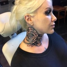 Neck Tattoos For Women - Best Tattoos For Women: Cute, Unique, and Meaningful Tattoo Ideas For Girls - Get Cool Female Tattoos with Pretty Designs bone tattoo neck tattoo tattoo tattoo tattoos ideas collar bone Rose Neck Tattoo, Full Neck Tattoos, Neck Tattoos Women, Throat Tattoo, Neck Tattoo For Guys, Best Tattoos For Women, Back Tattoo, Sleeve Tattoos, Tattoo Roses