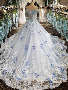 Blue wedding dress - Blue wedding dress Source by - Blue Wedding Dresses, Cute Prom Dresses, Pretty Dresses, Bridal Dresses, Beautiful Dresses, Wedding Gowns, Wedding Blue, Formal Dresses, Fantasy Gowns