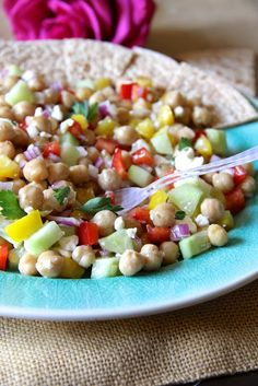 Healthy Garbanzo Bean Salad - everything but the cucumber!