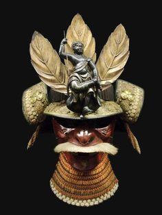 Samurai Mask by Dalbera Samurai Weapons, Samurai Helmet, Samurai Armor, Arm Armor, Japanese Mask, Japanese Warrior, Japanese Sword, Art Japonais, Leather Armor