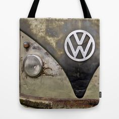 VW Indestructable Tote Bag by Alice Gosling - $22.00 ALL Tote Bags are now full bleed, printed both sides and available in 3 sizes #tote #unique #bag #VW #Campervan #Volkswagen #Retro #Rust