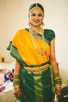 Traditional South Indian Iyer bride wearing bridal saree and jewellery. Muhurat look. Makeup by Swank Studio. Find us at https://www.facebook.com/SwankStudioBangalore