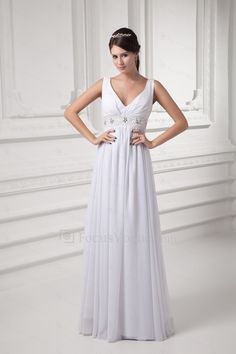 d73dbffd7b6f Chiffon v-hals kolonne gulv længde broderet brudekjole - Focus Vogue  Wedding Dresses For Sale