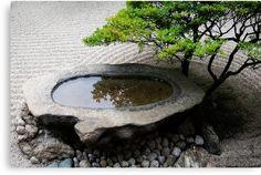 'Stone Basin Zen' Canvas Print by Skye Hohmann - Giardino Giapponese Small Japanese Garden, Mini Zen Garden, Japanese Garden Design, Water Garden, Garden Art, Japanese Gardens, Indoor Zen Garden, Garden Bathtub, Japanese Water