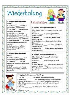 5 Aufgaben zum Thema Relativpronomen - DaF Arbeitsblätter