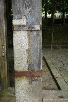 Wood-to-stone joint in Japan