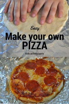Easy Make your own pizza recipe. So much fun for kids! Easy Make your own pizza recipe. So much fun for kids! Kids Cooking Party, Cooking With Kids Easy, Kids Cooking Recipes, Kids Meals, Pizza Recipes, Easy Pizza Recipe For Kids, Cooking Games, Healthy Cooking, Dinner Recipes