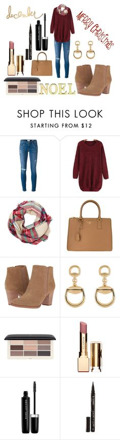 """""""december"""" by mmmescher on Polyvore featuring Frame Denim, Laura Ashley, Prada, Franco Sarto, Gucci, H&M, Clarins, Marc Jacobs, Smith & Cult and Heidi Swapp"""
