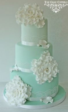Mint ombre 3 tier cake with white flower's.