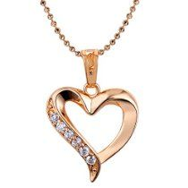 Wild Wind (TM) Heart Love Diamond Accented 18k Rose Gold Plated Pendant Necklace