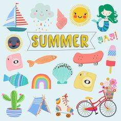 New Bike Drawing Illustrations Graphic Design 48 Ideas Bike Drawing, Drawing Art, Mermaid Clipart, Cute Fonts, Summer Kids, Cute Drawings, Summer Drawings, Cute Stickers, Stickers