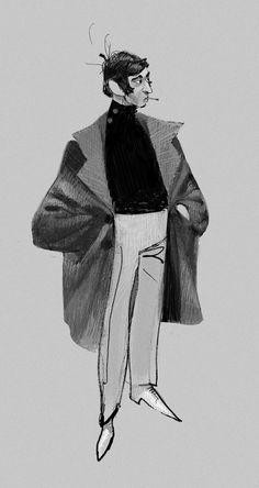 Serge Gainsbourg portrait at Juliaon Roels Character Concept, Character Art, Concept Art, Character Design Animation, Character Design References, Character Illustration, Illustration Art, Art Illustrations, Arte Sketchbook