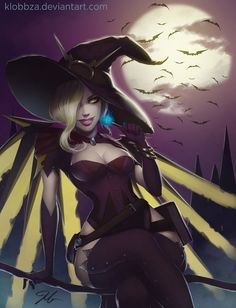 Happy Halloween by KlobbZA.deviantart.com on @DeviantArt - More at https://pinterest.com/supergirlsart #overwatch #witch #mercy #fanart