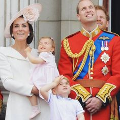 Watching the Royal Air Force fly pass on the Queen's 90th birthday. Is it just us or Prince George looks exactly like his daddy?