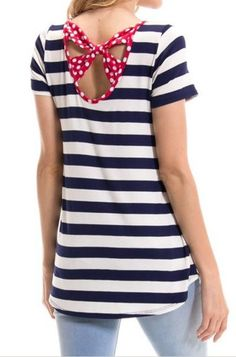 Polka Dot Bow back Detail Striped Top