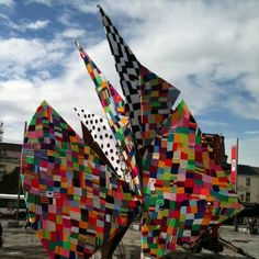 This Sail sculpture in Eyre Square , Galway , Ireland was yarnbombed by kids