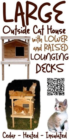 "The Large Cedar Outside Cat House With Lower And Raised Lounging Decks design offers comfort for your cats. It""s elevated height keeps your cats from ground chill and wet conditions. The lounging deck is a great place for cat naps. The generous porch roof helps shield the doorway opening from dripping rain and melting snow. It is big enough to accommodate two large cats, and is individually hand crafted with the high quality workmanship, from cedar wood, www.catbedandtoy.com"