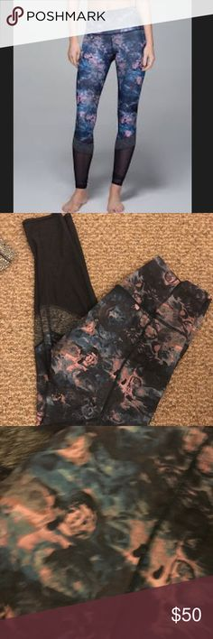 Lululemon If You're Lucky Tights Great condition. Lycra like material in floral. The gray panel is more like cotton. lululemon athletica Pants