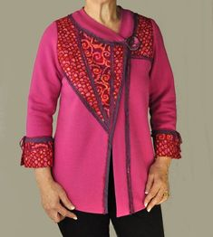 Fuchsia Wedge Jacket from Living Well Talking Pattern™ full of sewing directions for sweatshirt jacket transformations.  http://www.londas-sewing.com/shop/product/living-well-pdf-delivery/