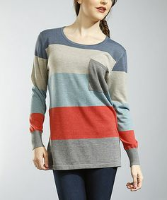 Take a look at this Gray & Red Stripe Penny Pocket Tunic by Young Threads on #zulily today!