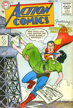 Action Comics April 1955 cover by Al Plastino Old Comic Books, Vintage Comic Books, Comic Book Covers, Vintage Comics, Old Superman, Superman Action Comics, Superman Comic, Superman Family, Superman Stuff