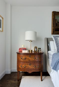 The bedside tables are family heirlooms as well.