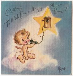 Vintage Greeting Card Christmas Angel Telephone Rust Craft 1940s Signed Ginny