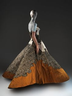"""A ball gown from 1949-1950 designed by Charles James, part of a new exhibition at the Metropolitan Museum's Costume Institute. """"Charles James: Beyond Fashion,"""" which will inaugurate the Met's $40 million Anna Wintour Costume Center on May 8, analyzes the sculptural work of the fabled fashion designer."""