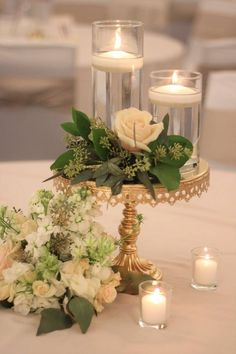 Green and Gold Wedding Decor - Floating tealight candles, greenery with florals,. - Green and Gold Wedding Decor – Floating tealight candles, greenery with florals, and antique gold - Gold Wedding Centerpieces, Simple Centerpieces, Centerpiece Ideas, Antique Wedding Decorations, Wedding Reception Decorations Elegant, Floating Candle Centerpieces, Wedding Reception Tables, Centerpiece Flowers, Black And Gold Centerpieces